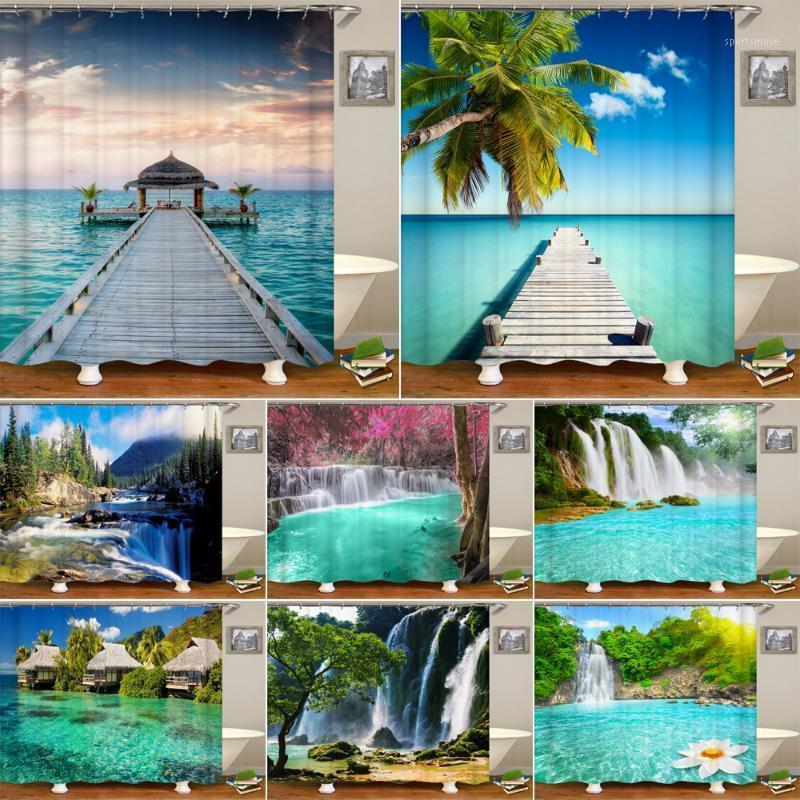 Sea Beach Landschaft Drucken Duschvorhang Wasserdicht 3D Wasserfall Landschaftsbadezimmer Vorhang mit 12 Haken Home Decoration1