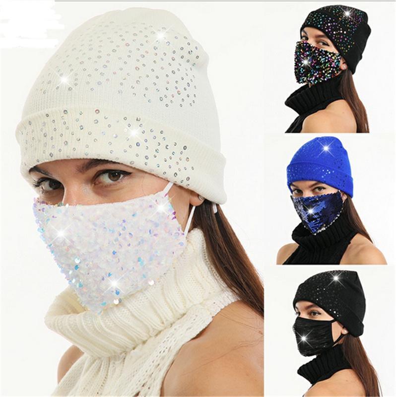 Erwachsene Frauen Mädchen Glitter Maske Mütze Kappe Strick Hüte mit Gesichtsmaske Pailletten Hüte Sets Woll-Schädelkappen Outdoor Winter Ski Warme Hüte E122809