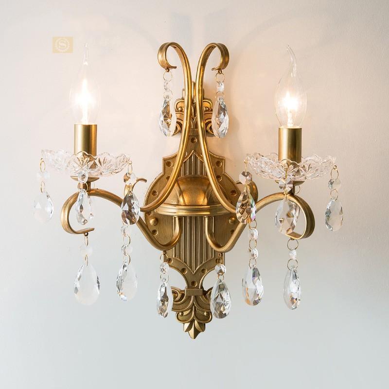 American Simple Forjon Hierro Lámpara de pared Dormitorio Aisle Aisle Sala de estar Fondo Lámpara de pared Luz Cristal de lujo
