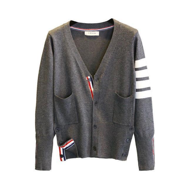 5 цветные полосы женщины вязаные кардиган осень зима повседневная V-образным вырезом с длинным рукавом вязание крючком вязаный свитер пальто женские топы