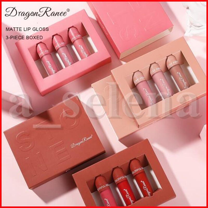 Lip Makeup Set 3pcs / set Matte Lip Gloss Rossetto Liquido impermeabile lungo Tint Lasting Lipgloss cosmetici Moisturizing Lip Kit