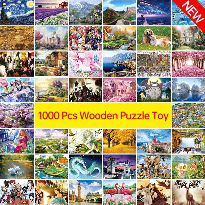 Novo ! 1000 pcs adulto puzzle crianças jigsaw paisagem puzzles brinquedos educativos para crianças animação emparelhamento quebra-cabeças presente D208 Y200421