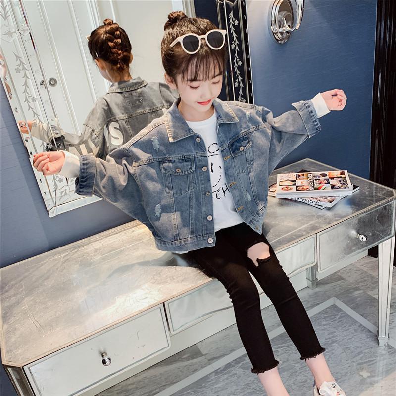 Abrigo de mezclilla de las niñas 2020 Nueva Top de moda corta coreana para la venta especial para niños y grandes para niños