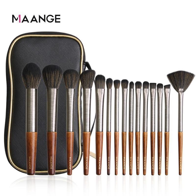 Brosses de maquillage Mauge 11 / 15pcs Set PRO Fondation Poudre Poudre Eyeliner Eyeliner Cils Tyelash Maquillage Beauty Kit d'outils cosmétiques