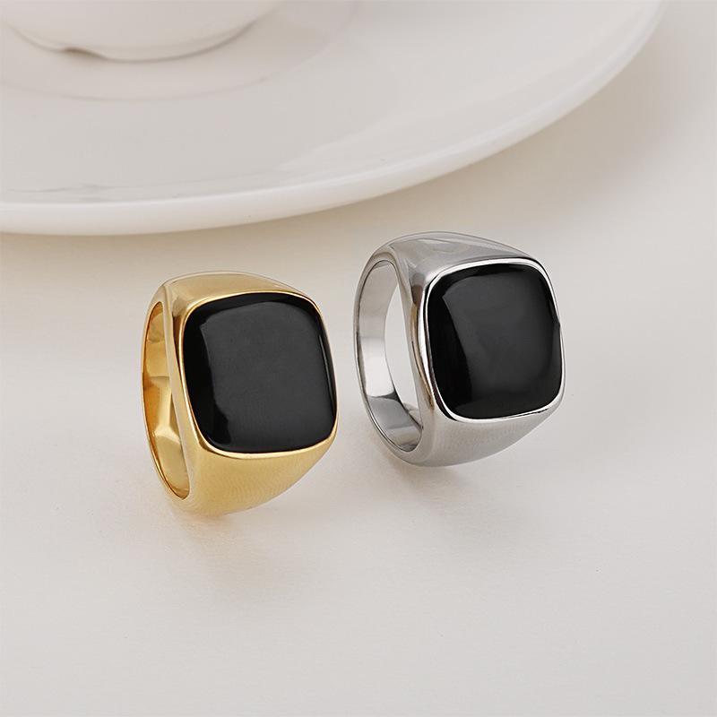 الشرير الأسود العقيق الحجر خواتم الفولاذ المقاوم للصدأ الذهب شقة سوداء ستون ستيط الدائري الرجال لا تتلاشى صخرة الأزياء الشرير مربع المجوهرات
