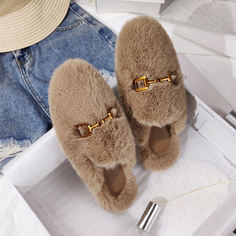 Зимние женские дома тапочки из искусственного меха мода теплые ботинки женщина скольжения на квартирах самки слайды черный розовый уютный дом пушистые тапочки Y1125