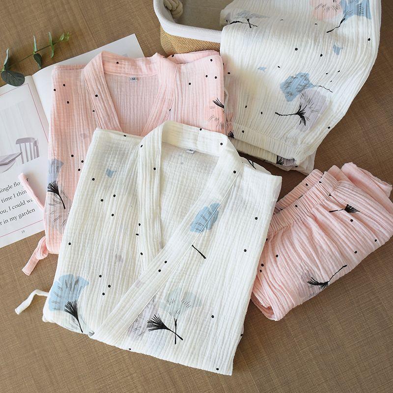 Spring and Summer Pure Coton Fil de coton Kimono Pajamas V-Col V PLUS Taille Pajamas Mujer Loungewear femme 2 pièces Nightwear Nightwear