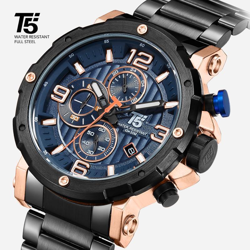 ساعة T5 الصلب للرجال، كوارتز ساعة، ماء، ساعة رياضية