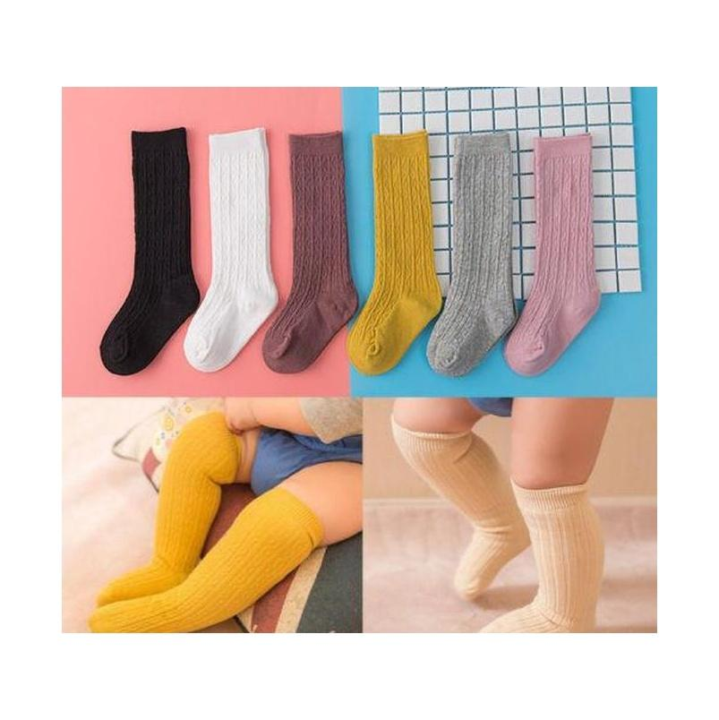 Детские малыши девушки колено высокие носки колготки колготки хлопчатобумажные чулки для 0-3Y горячая новая девочка конфеты цвета вязаные чулки qydst