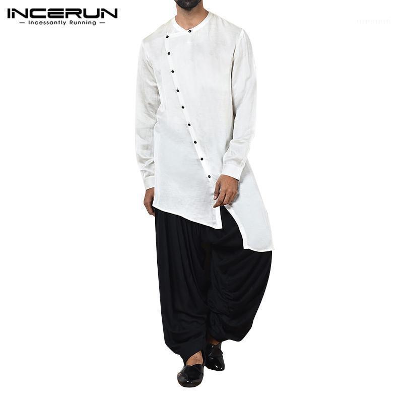 INCERUN Fashion Men Solid Color Long Sleeve Muslim Kaftan Tops Casual Street Round Collar Irregular Hem Button Mens Jubba Thobe1