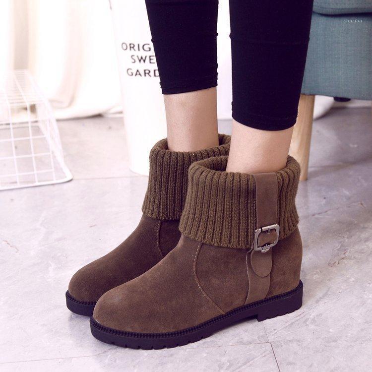 2020 Chaussures d'hiver Femmes Bottes à neige Femmes Hauteur Augmentation Chaussures Casual Femmes Bottines Cheville Chaud Peluche Hiver A26291