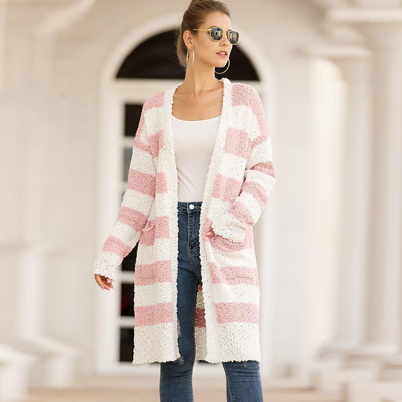 2019 örme çizgisiz üst giysi kadın tahıl aşağı şerit yazım rengi kazak hırka1