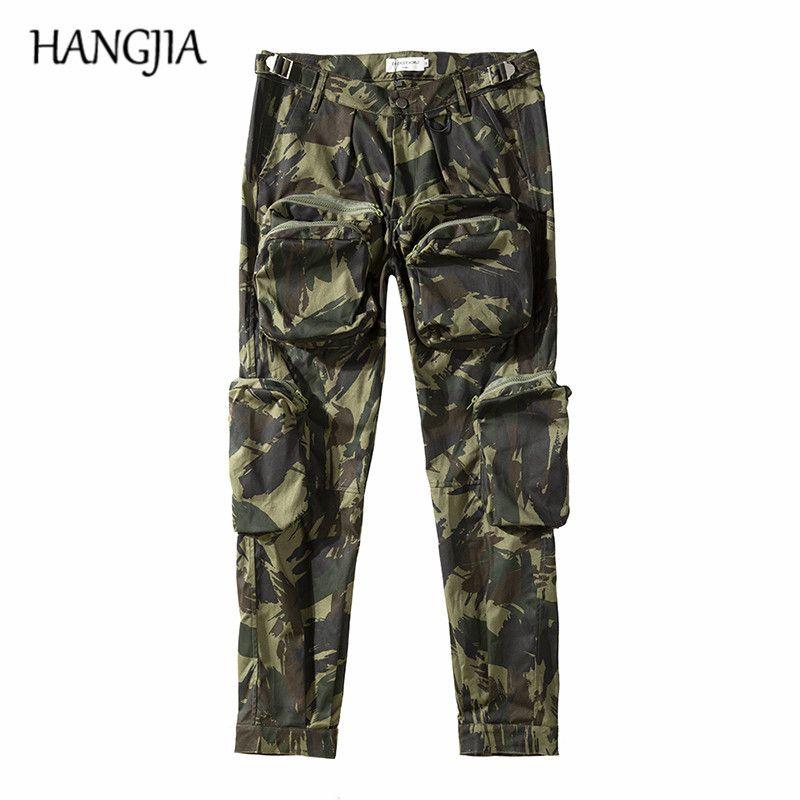 2019 Camouflage militaire Pantalon de cargaison Streetwear HIP HOP Cargo Pantalons hommes Multi-poche Pantalon de camouflage occasionnel X1218