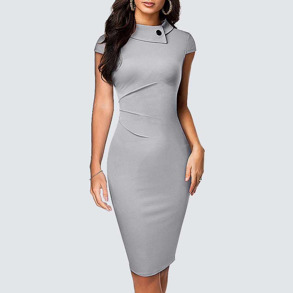 Retro O- Neck Elegant Business Bodycon Brief Solid Color Chic Wear to Work Slim Dress HB574 F1130