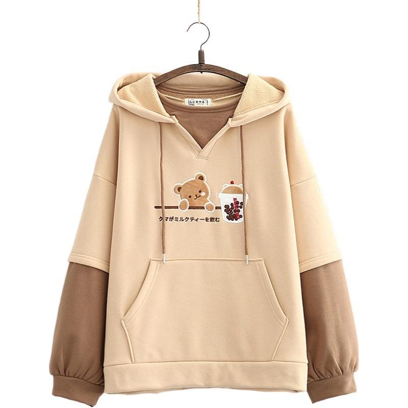 Herf invierno más flores mujeres remiendo suéter encapuchado niña suelta hot gordo harajuku hoodie casual truien 209774