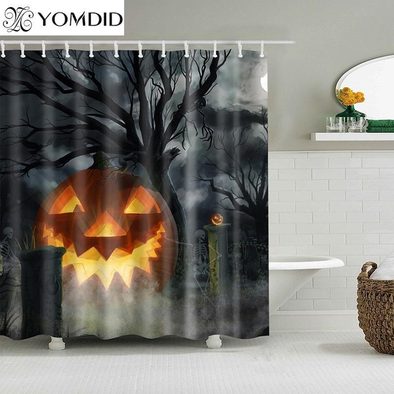 Yomdid Хэллоуин ванна занавес тыквенные шаблон душевая занавеска мультфильм тыква ванна напечатана для новогоднего декора дома