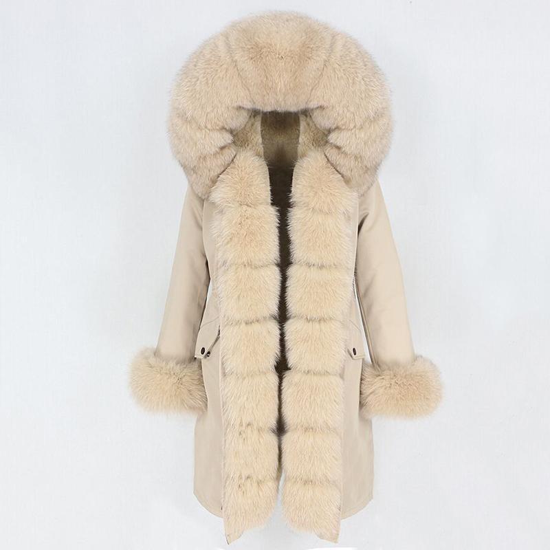 Fallo femenino Faux Oftbuy 2021 x-Largo A prueba de agua Parka Chaqueta de invierno Mujer Abrigo real Cuello natural Campana Gran ropa de abrigo desmontable