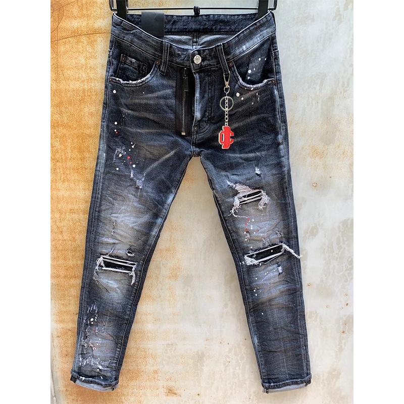 Hommes dsquared2 Jeans Italie Mode Slim Slim Coupe lavée Motocycle Denim Pantalon Pantalon Hip Hop Pantalons Hot Q5Sx
