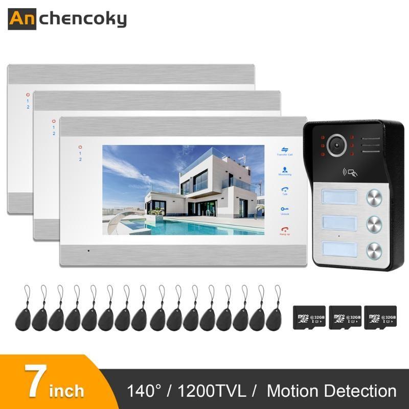 Anchencoky Video Boorbell Intercom 7inch Video Door Door 3 شاشات 1 Boorbell Camera Support Sciping Card لنظام الشقق