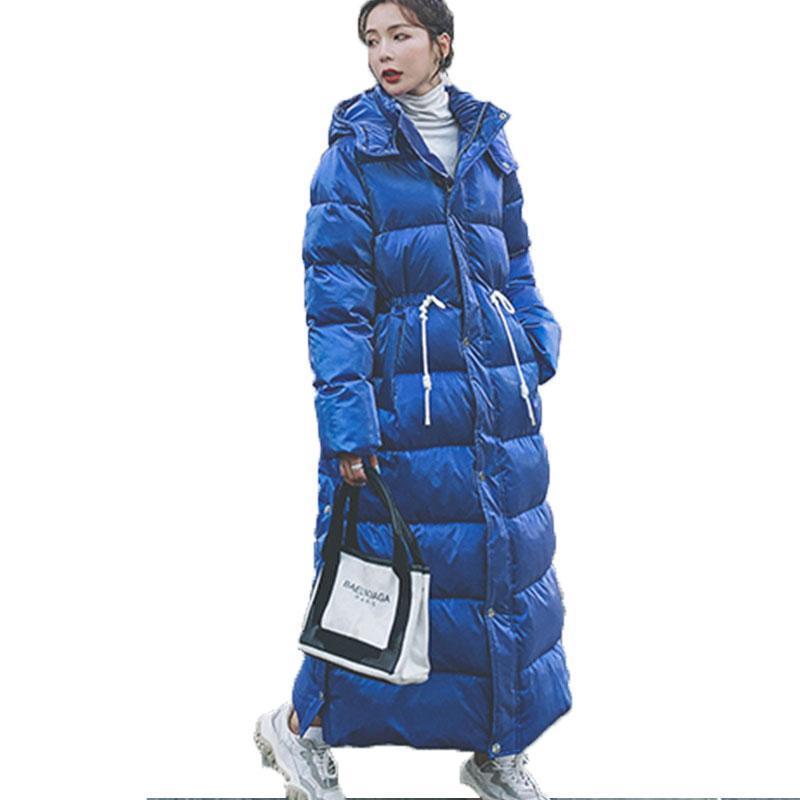 단색 컬러 겨울 자켓 여성 X 길 아래로 패딩 파카 2021 패션 금속 따뜻한 후드 겨울 코트 여자 스노 코트 자켓