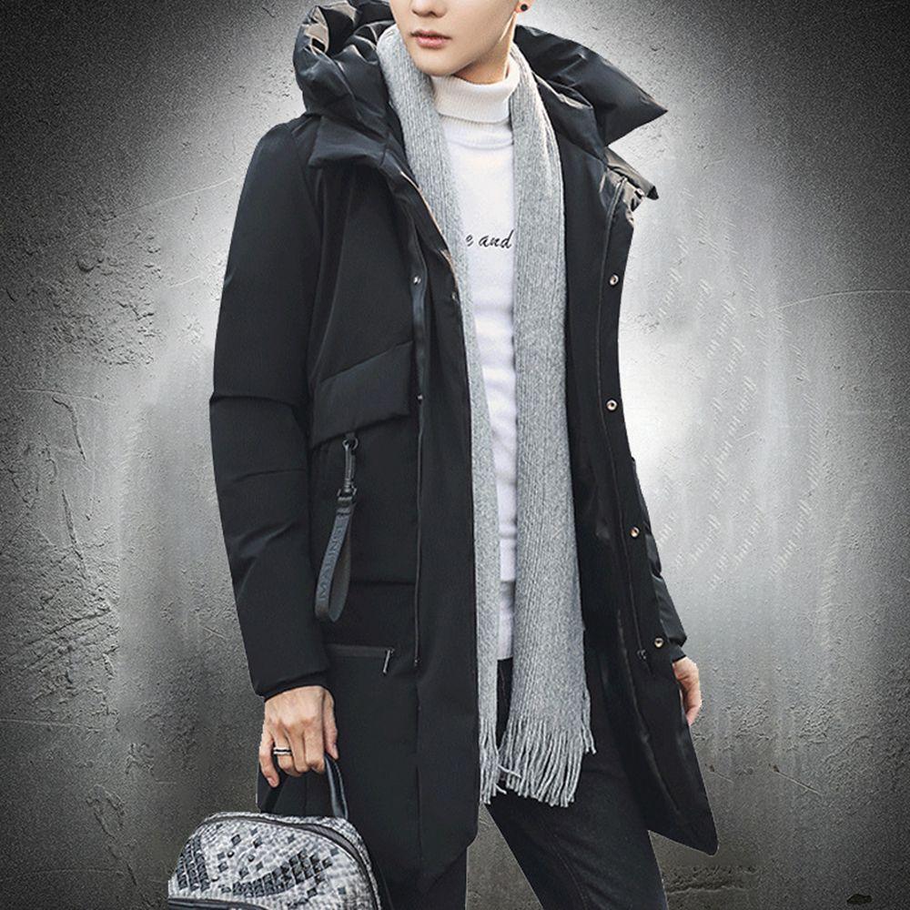 Veste d'hiver Hommes Longue Parka Manteau en coton rembourré à capuche à capuche à capuche à capuche en plein air veste en plein air zipper up slim ajustement gros poches 201120