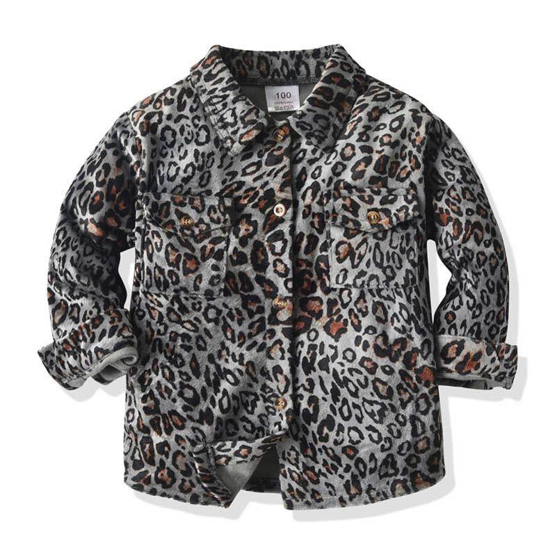 2021 Новый леопард печатает детские рубашки с длинным рукавом мальчики рубашки для девочек рубашки для девочек детские футболки дизайнеры одежда детские топы розницу B3456