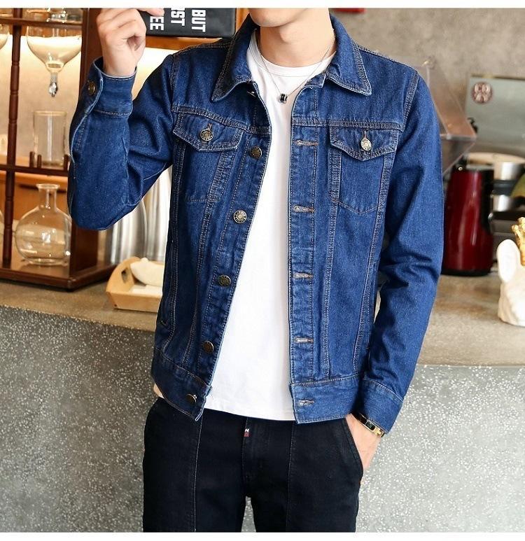 Весна осень мужская повседневная джинсовая куртка мужская твердая модная мода бомбардировщик тонкий разорванный джинсовая куртка мужской ковбой джинсы куртки LJ201013