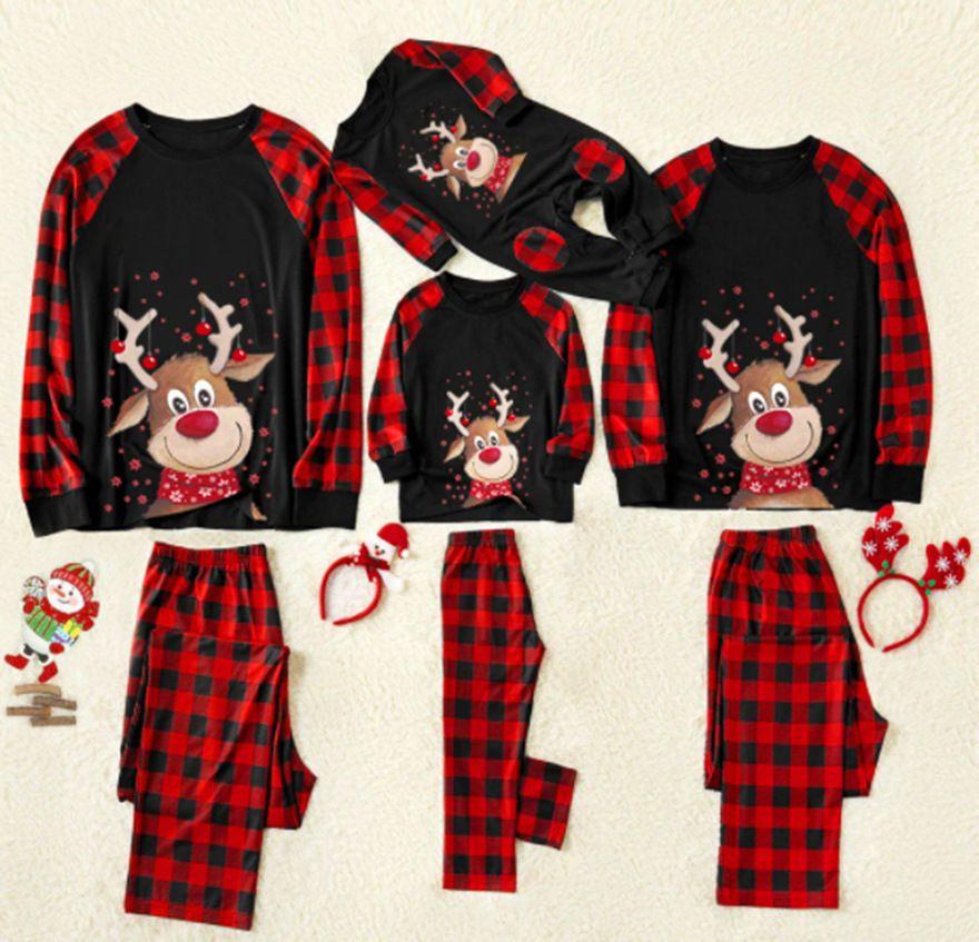 Navidad Familia Matching Plus Tamaño Pijamas Set Deer Adulto Kid Familia Coging Ropa Top Pantalones Navidad Sleepwear Baby Ramper 201128