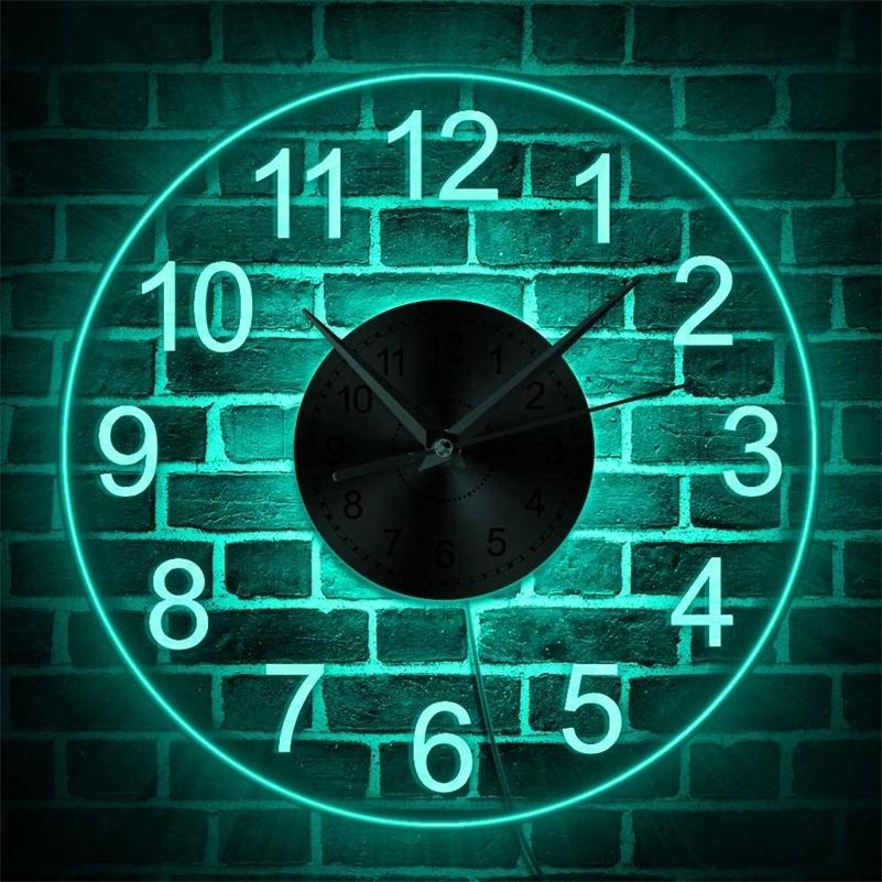 Arabic Numerals LED Illuminated Wall Clock Vintage Decorative Acrylic Round Wall Hanging Watch Home Decor Night Light Horologe LJ201212