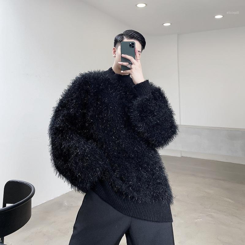 Mujeres Mujeres Pareja Streetwear Vintage Moda Negro Blanco Suéter Hombres Hombres Cabello largo Grueso Sueño de suéter Pullover