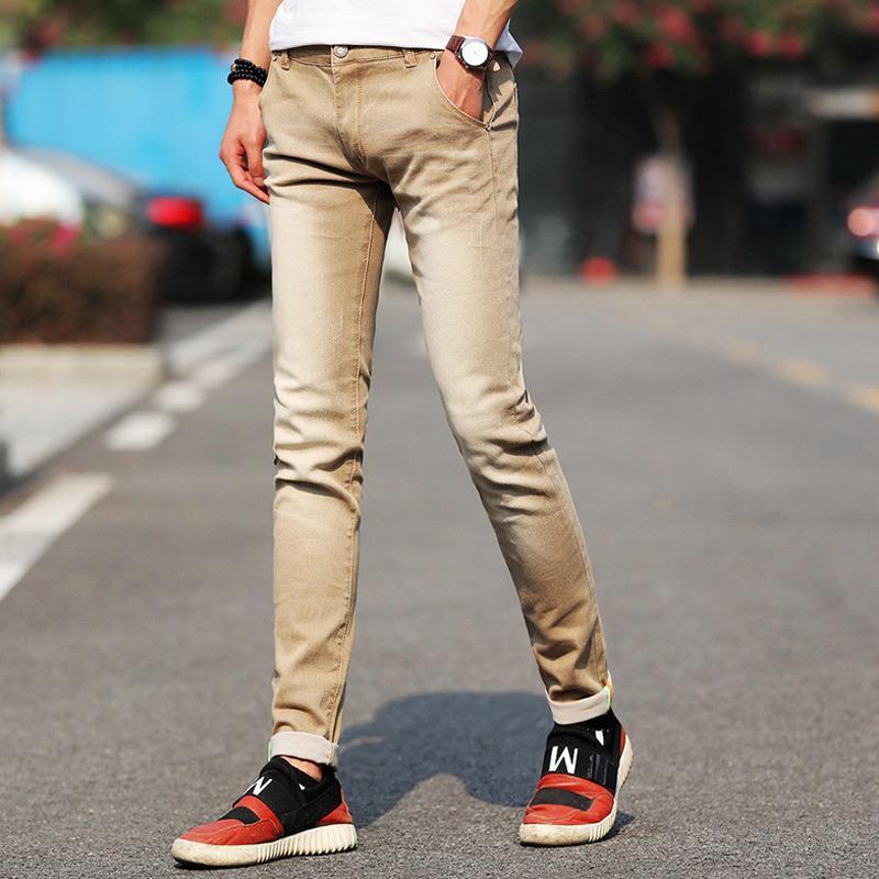 Homens Stretchy Denim Skinny Green Jeans Primavera Outono Marca Clássico de Alta Qualidade Moda Jeans 201111