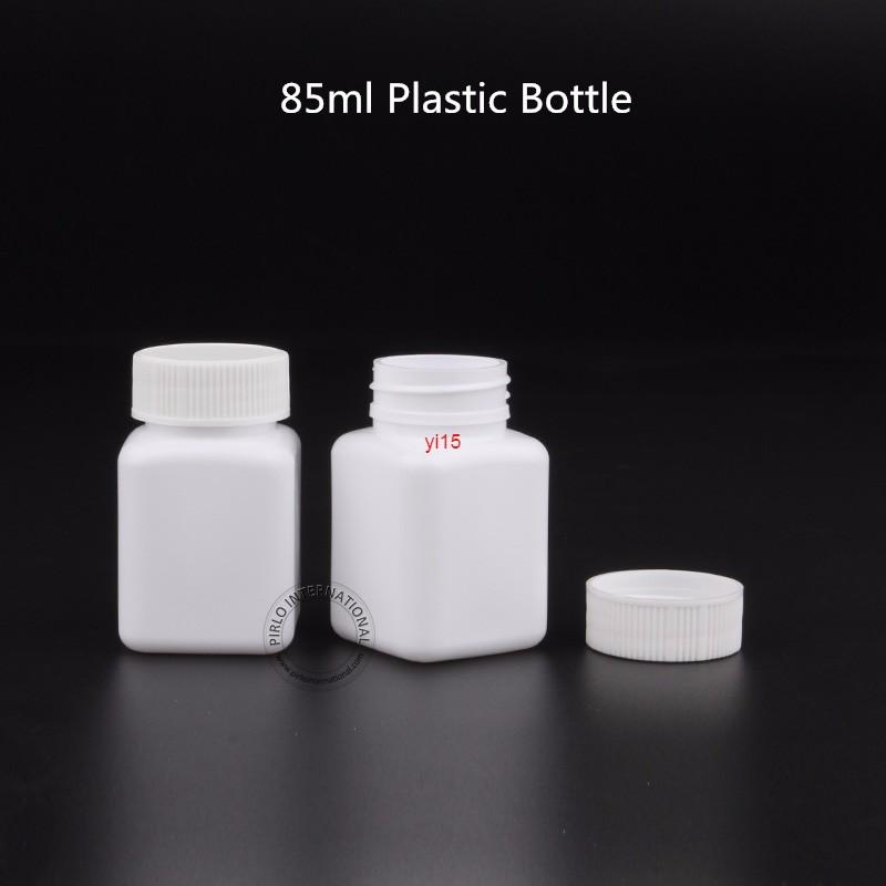 30pcs/Lot Promotion 85ml Plastic Pill Bottles Square Shape Tablet bottle with Screw Cap for Medicine Empty Small PE Capsule Potgood qualitty