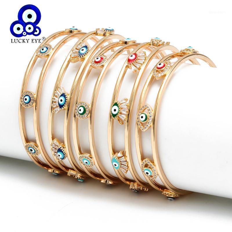 Bracelet Lucky Eye Open Bracelet Open Or Couleur Copper Multi Turc Mal pour Femmes Filles Mode Bijoux BD1681