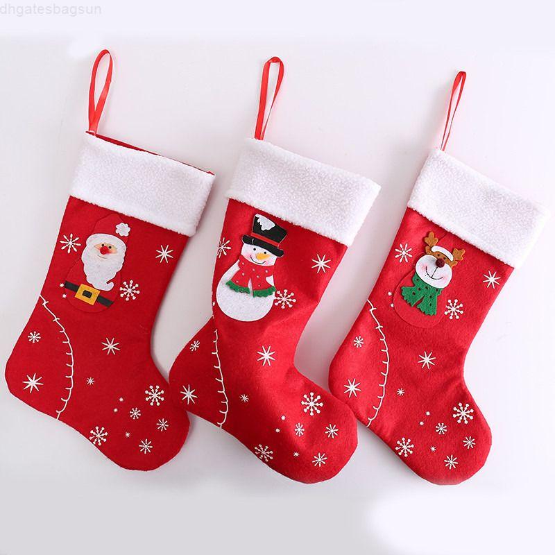 Albero Decorativo rosso Santa Snowman Elk Candy Socks Christmas Appeso Non-tessuto Calza 31 * 20 cm Sock Xmas Decor