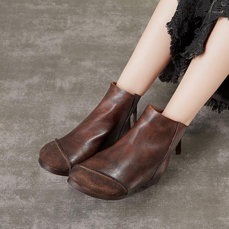 Huizu American Casual Women's Shoes Retro Hecho A Mano De Cuero Frosted Costadas Botas cortas Mujeres1
