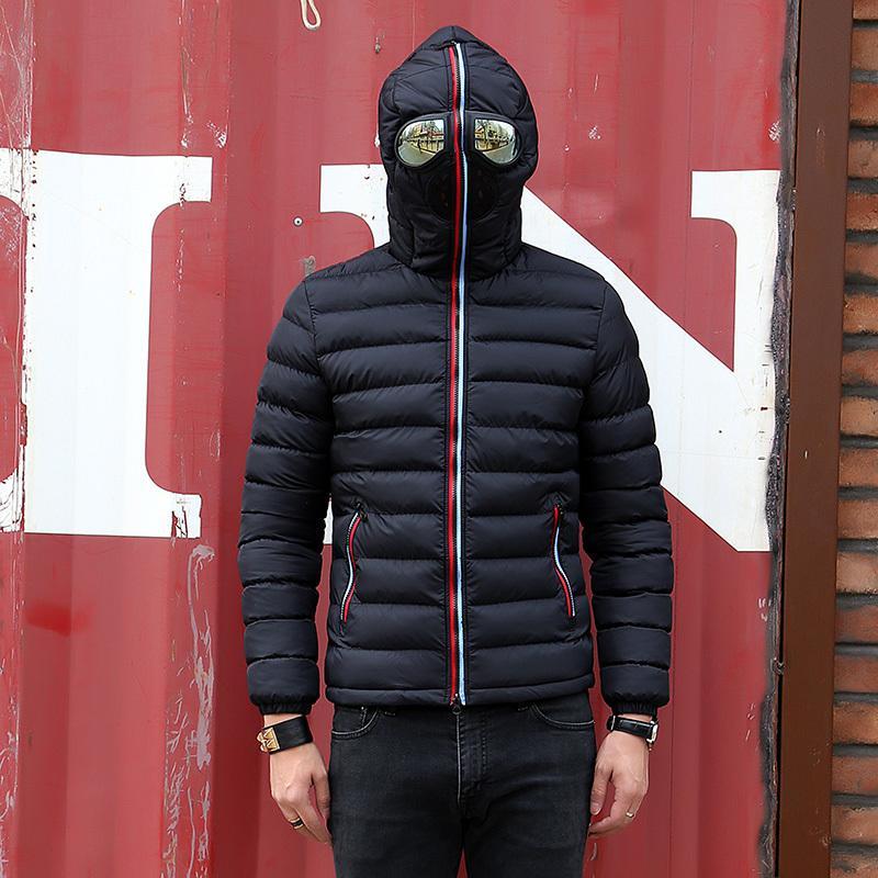 Капюшон с очками куртка мужчины зима Parka мужская ветрозка густые теплые ветрозащитные пальто мужские куртки с капюшоном мужские зимние куртки 201201
