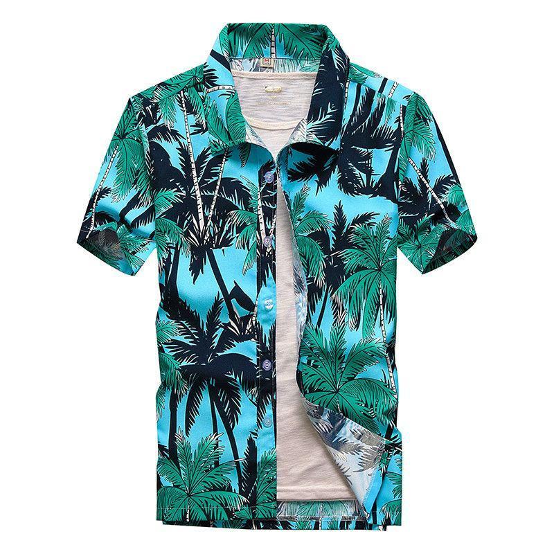Camicie casual da uomo Beach Men Summer Vacation Camisas Button Down Hawaiian Para Hombre Noce di cocco Stampato manica corta per M-5XL