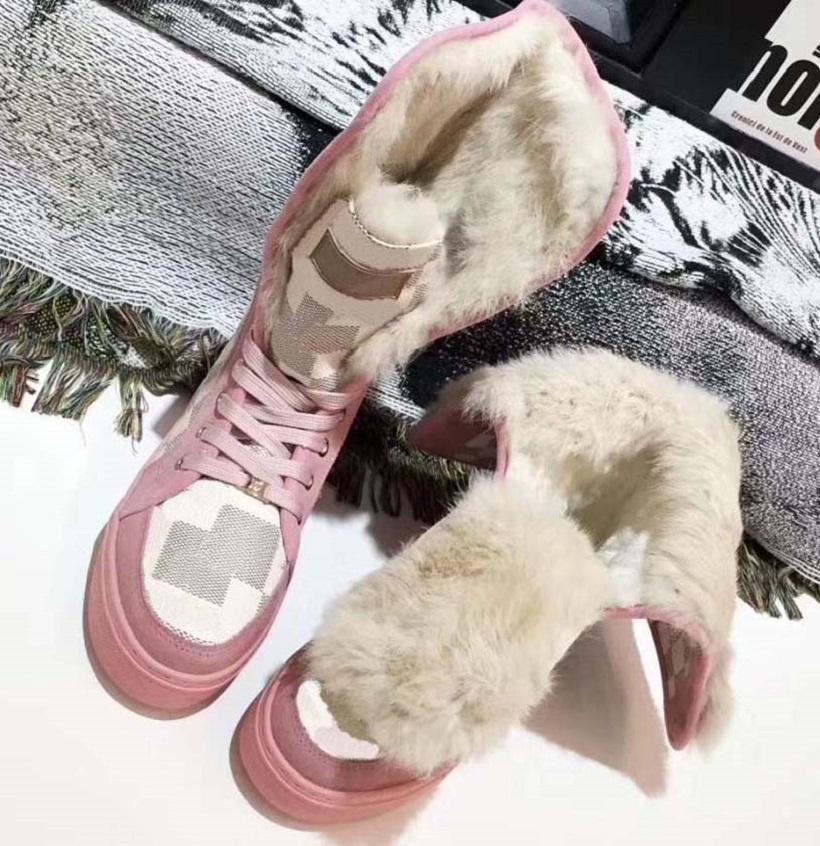 Botas de alta calidad Botas de nieve Botas de nieve Piel One Shoes Zapatos casuales Botas de moda de invierno Remache Mantenga zapatos cálidos con caja EU: 35-41