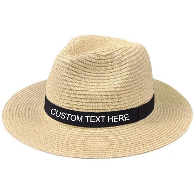Персонализированные пользовательские Jazz Topper Вышивка Текстовое имя Унисекс Летние Солнца Большой Breim Соломенная Шляпа Открытый пляж C0123