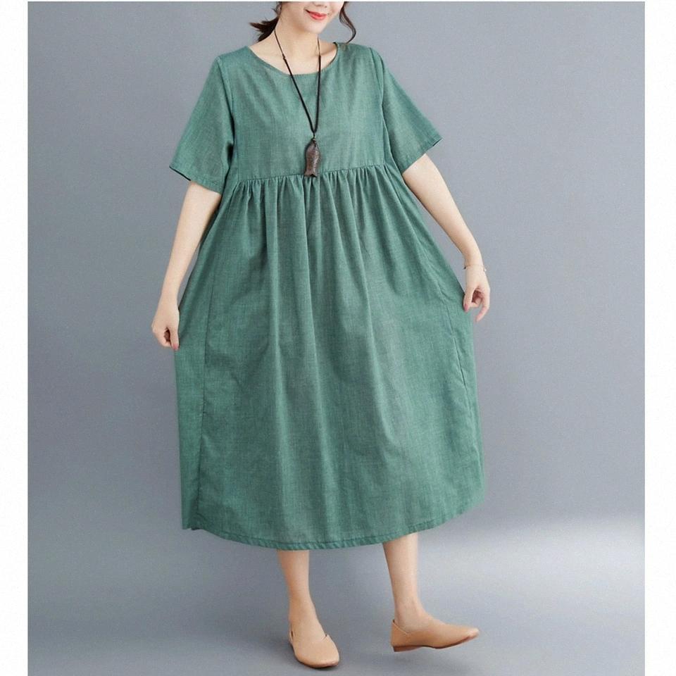 MUJERES SUPERMISS Vestidos de manga corta Midi Solid Midi Sundress Casual Ladies A-Line 2020 Vestidos largos Vintage Talla grande # SA4Q