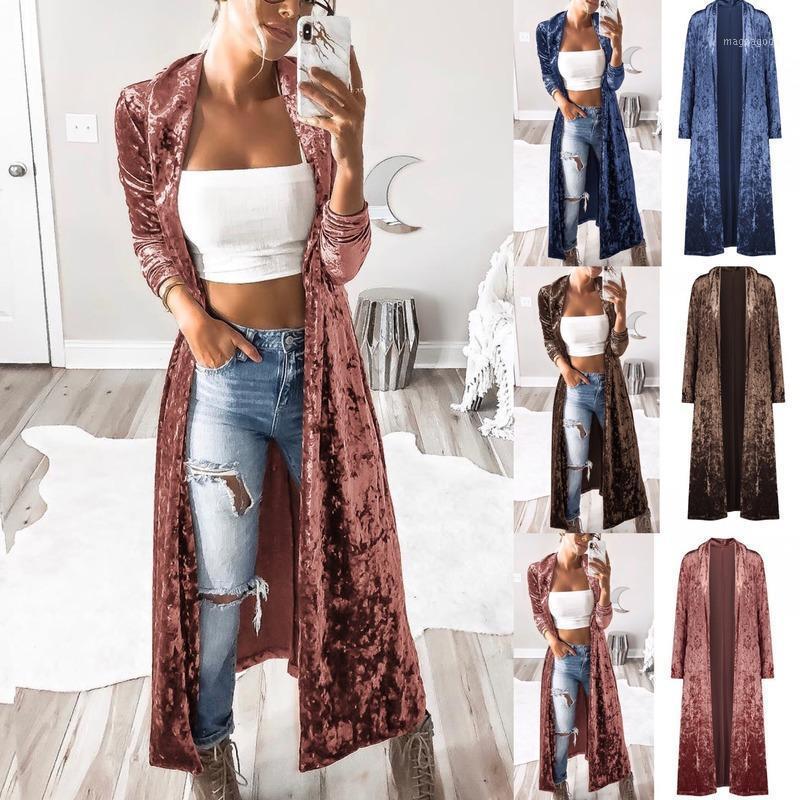 Одежда для одежды 2020Winter женщин с длинным рукавом бархатный ветер пальто мода повседневная кардиган длинный открытый стежок Windreaker Trench1