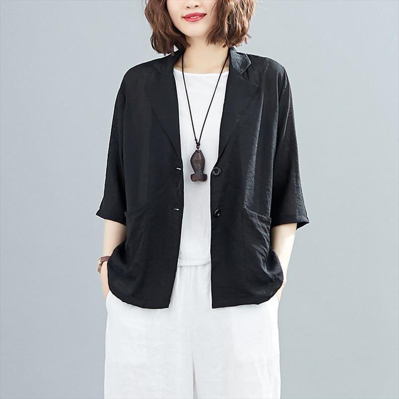 Случайные лето большой размер женской хлопчатобумажной и льняной рубашки Свободные тонкие разрез твердого цвета костюма солнцезащитный крем пиджак женские топы K827