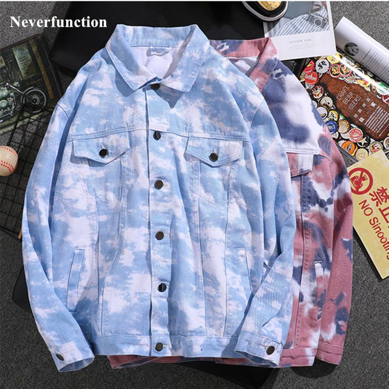 Erkekler Kamuflaj Baskılı Slim Fit Kot Ceketler Pembe Siyah Beyaz Hip Hop Adam Streetwear Pamuk Rahat Denim Ceket Artı Boyutu 4XL 201104
