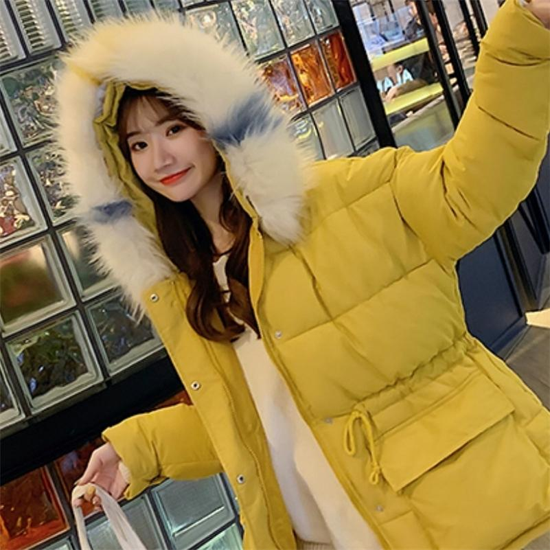 women loose cotton parkas coat cloak A word cotton clothing student bread winter warm coat large fur collar Thick puffy jacket 201211