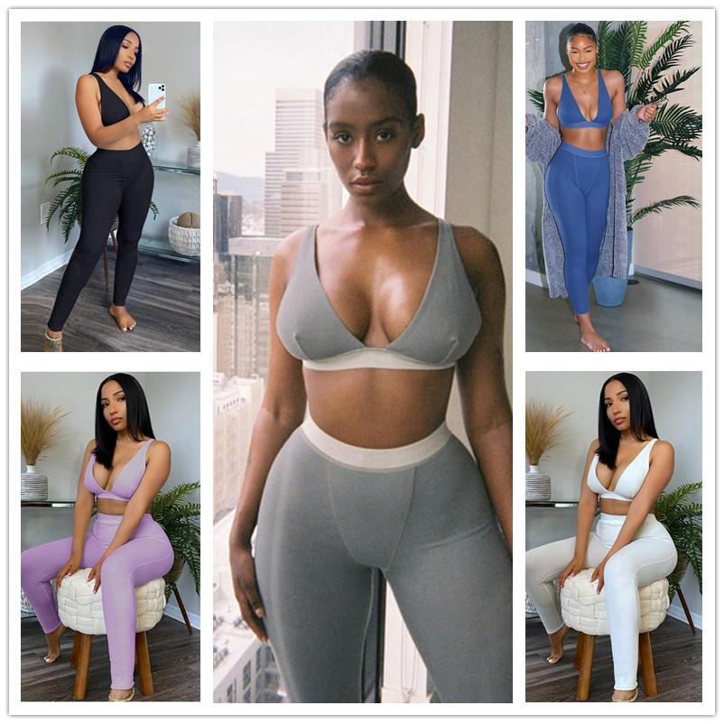 Women Sports Yoga Two-piece Set Sexy V-neck Slim Solid Color 5 Colours Hot Sale 2020 Summer New Fashion Ladies Outfits BG