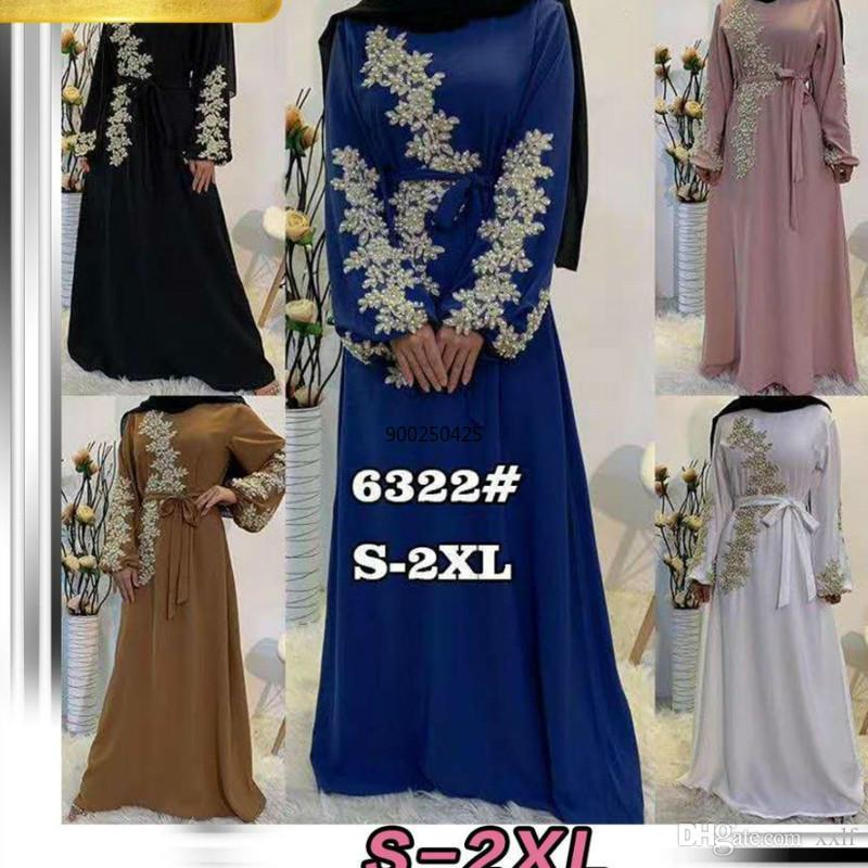 2020 Neueste bescheidene Mode Laxury Gestickte Spitze Perlen Islamische Kleidung Frauen Muslim Maxikleid Abaya Dubai Mode Damen