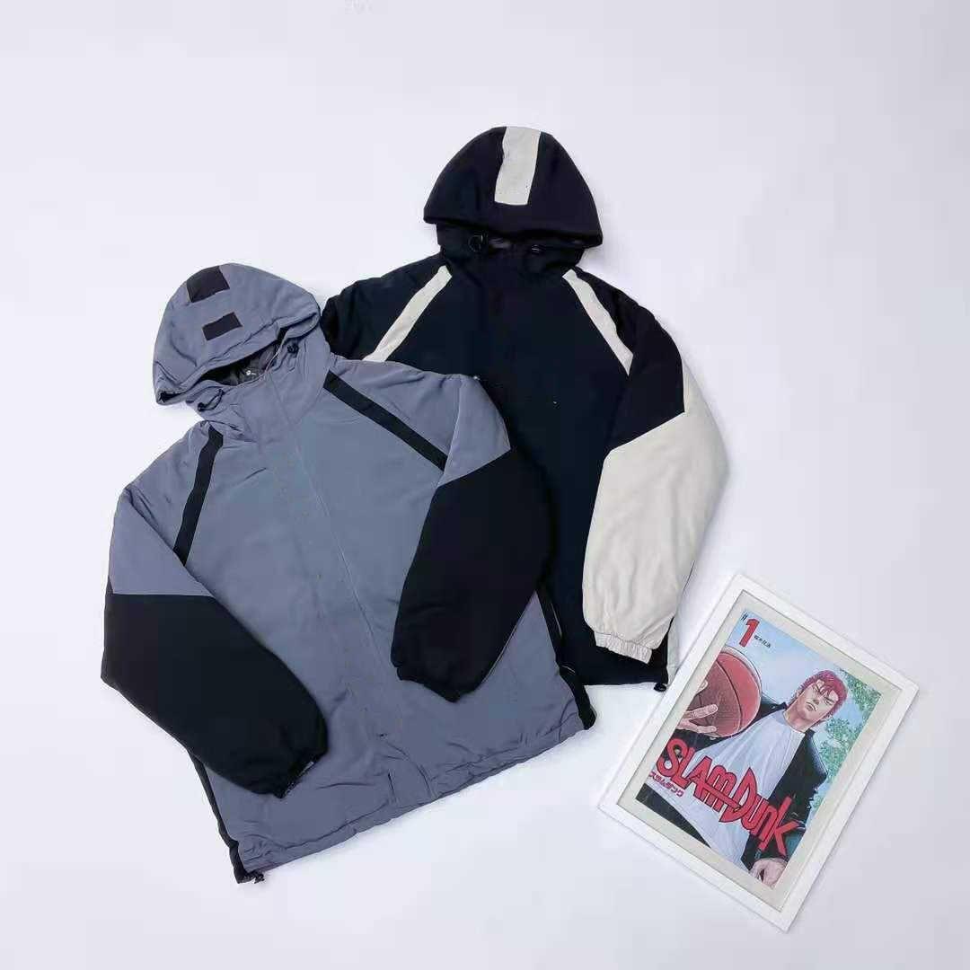 Klasik spor marka hatıra renk-engelleyen sıcak pamuk ceket erkekler ve kadınlar için kabarık pamuklu üst vücut ile aynı stil