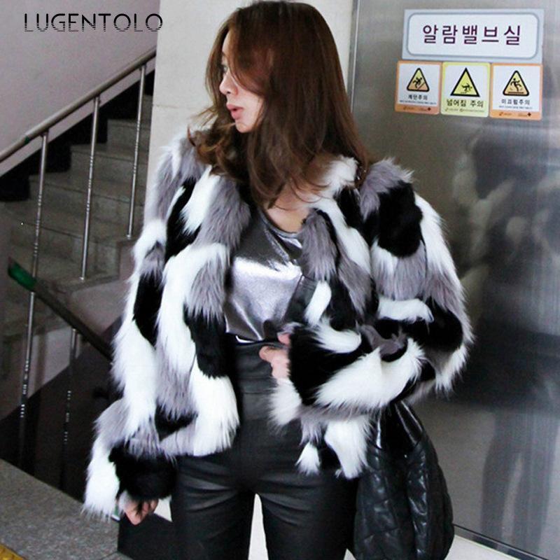 Lugentolo Mulheres Casacos Faux Pele Outono Inverno Inverno Casacos de Pele Coreano Redondo Pescoço Jaquetas Curtas Moda Feminina Faux 6xl