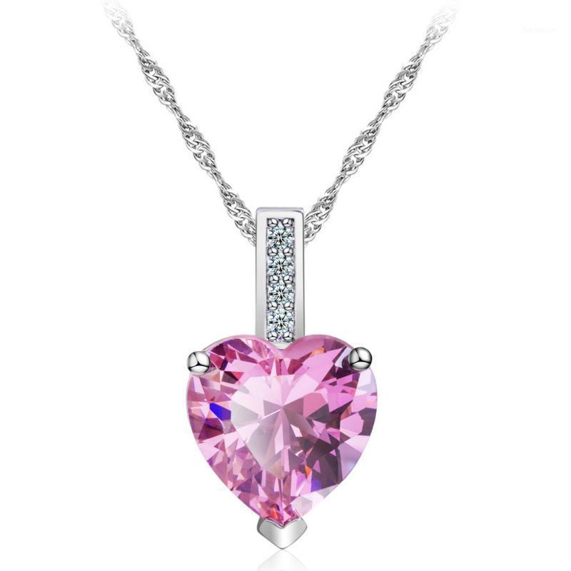 Regalo de San Valentín Regalo Cadena larga Collar Corazón Cubic Zirconia Colgante para Accesorio de boda Rhinestone Stone Jewelley1