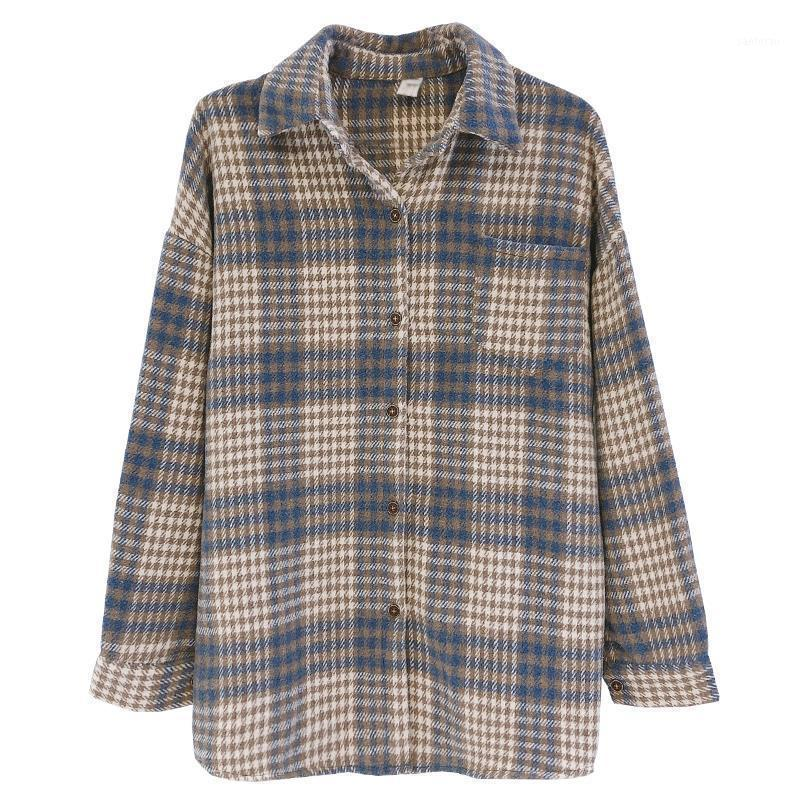 Рубашка ретро клетчатая рубашка женское пальто весна и осень 2020 новый рыхлый шерстяной с длинным рукавом толстая матовая рубашка Top1